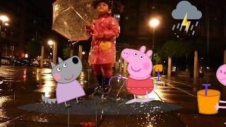 Peppa Pig  saltando los charcos con  - Las Aventuras de Amy