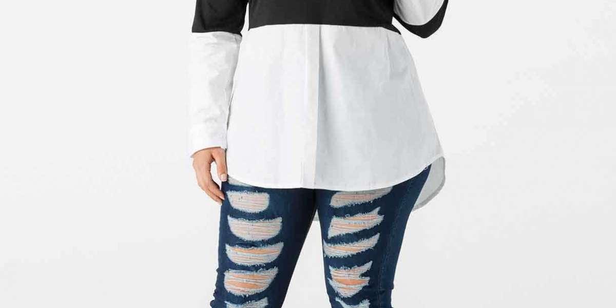 One Shoulder Plain Short Sleeve Black Plus Size Tops